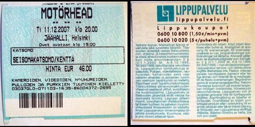 Ticket from Motorhead show
